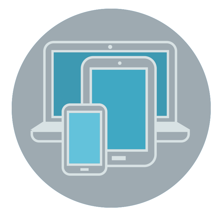 vector of mobile devices in grey circle