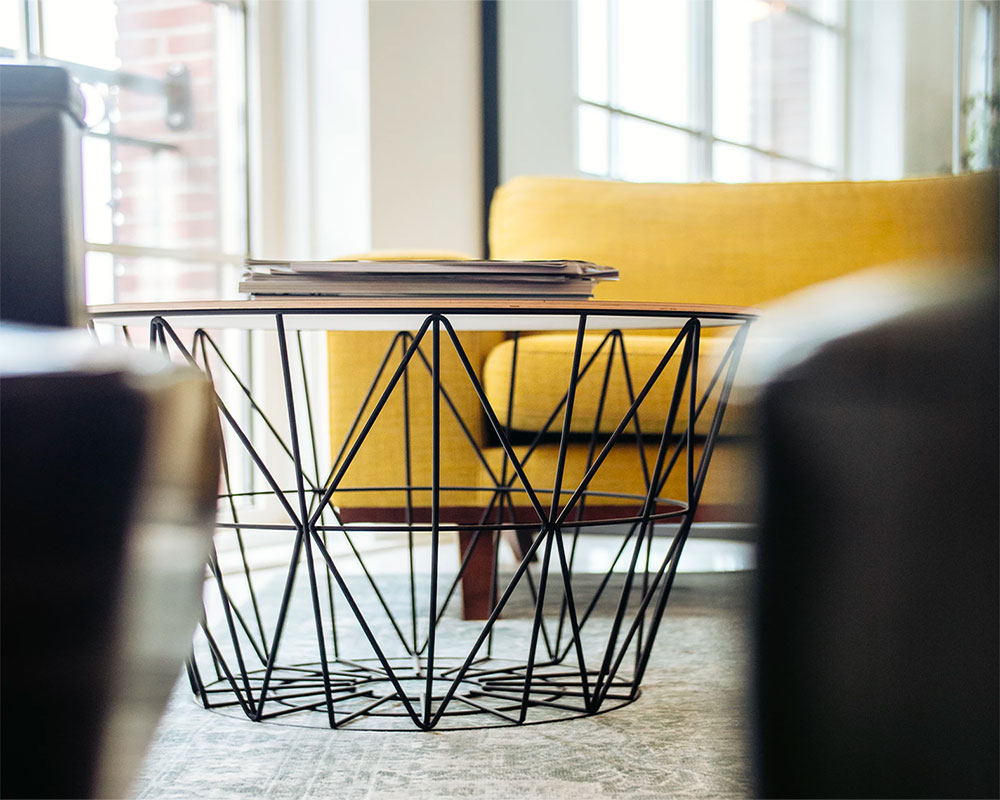 table with chairs and sofa