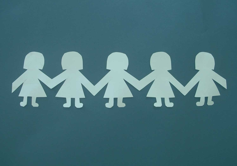 paper string of five women