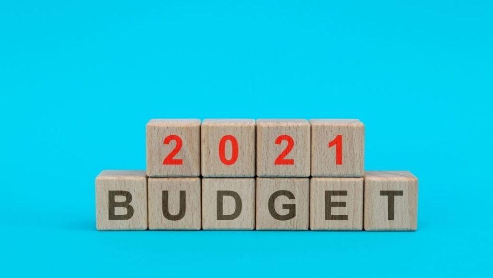2021 budget summary text on wooden blocks